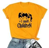 I Smell Children Halloween T Shirts Women Halloween Sanderson Sisters Tee Tops Cute Graphic Tee Shirt