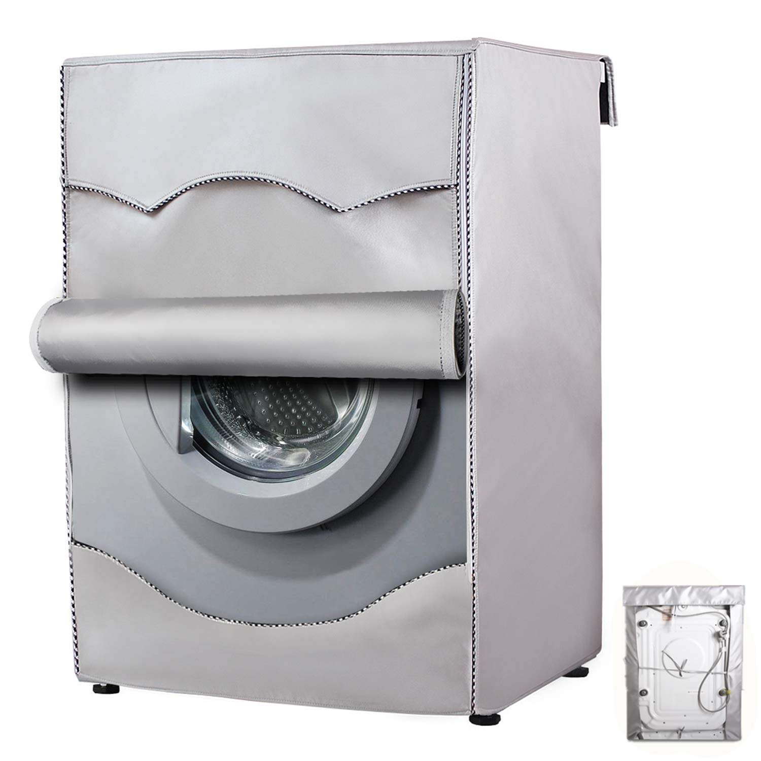 """Washing Machine Cover,Washer/Dryer cover For Front-loading Machine Waterproof Dust-proof Thicker (D25""""W23""""H33"""", Roll edge)"""