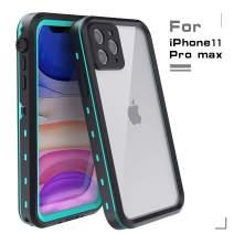 MUZUSUPI iPhone 11 Pro Max Waterproof Case with Screen Protector IP68 Protect Rugged Slim Crystal Case with Built-in Screen Protector Waterproof Snowproof Shockproof Dirtproof Covers (Aqua Blue)