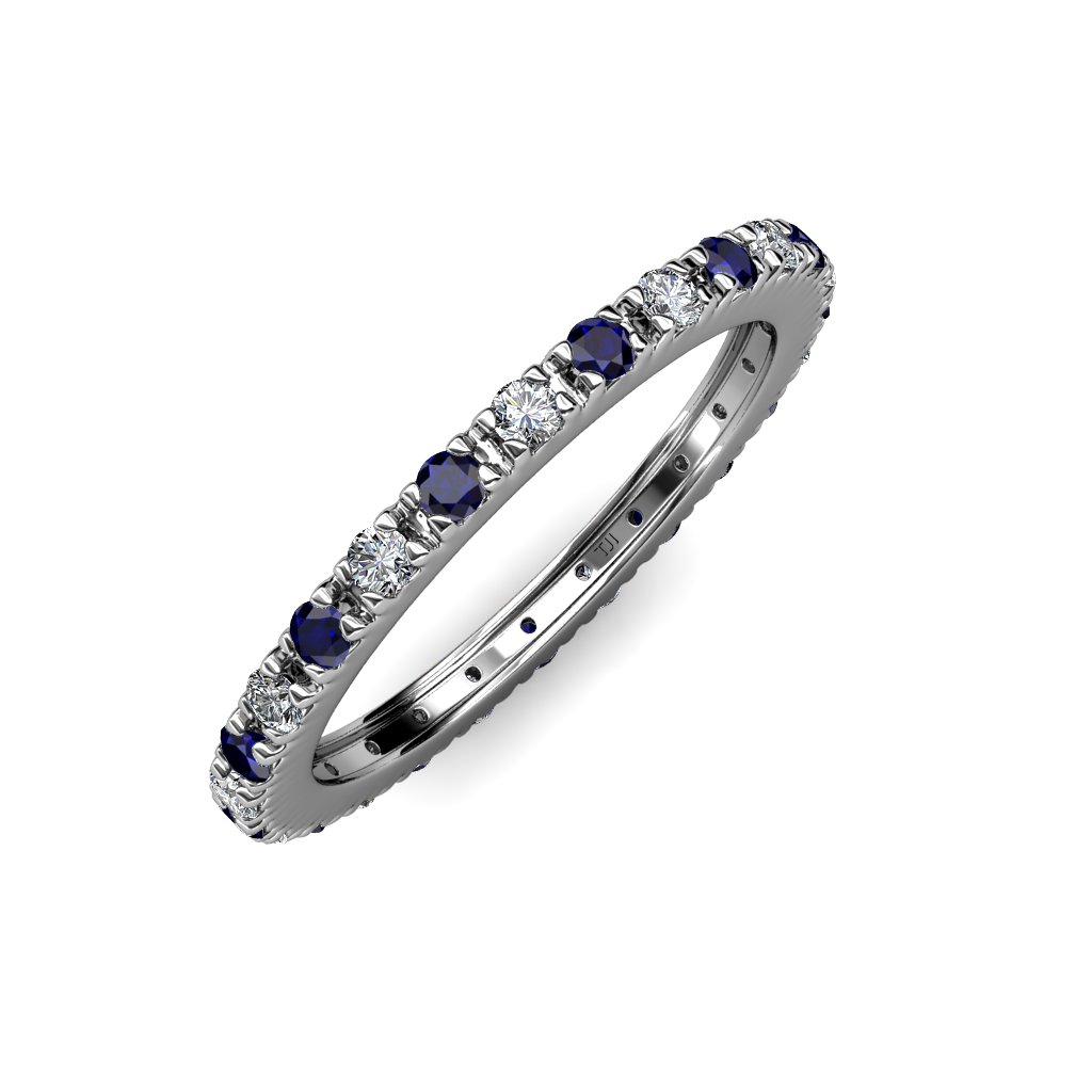 TriJewels Blue Sapphire & Diamond 2mm French Set Eternity Band 0.71 to 0.86 Carat tw in 14K Gold