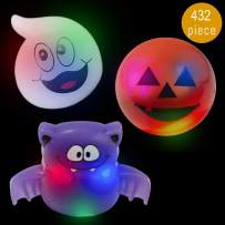 Lumistick Halloween Ghouls LED Flashing Ring   Transparent Soft Silicone Light Up Flashing Bright Colors Glowing Finger Rings Night Party Favor Glowing Toys Supplies (Assorted, 432 Rings)