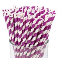 Just Artifacts 100pcs Premium Biodegradable Striped Paper Straws (Striped, Purple)