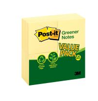 Post-it Greener Notes, America's #1 Favorite Sticky Note, 3 x 3 Inch, Canary Yellow, 24 - Count (654RP-24YW)