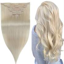 [Surprise Off Only $38.99]Easyouth Seamless Clip Hair Extensions Invisible Real Natural Human Hair Extensions Clip in Hair Extensions Color #60 Platinum Blonde 7 Pieces 12 Inches Short Hair For Girls