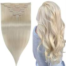 [Popular Color Blonde] Easyouth Remy Hair Extensions Seamless Clip in Human Hair Extensions, Platinum Blonde Color Hair Extension Clip in Extensions Brazilian Hair Extensions 7pcs 14 Inch