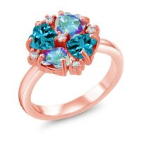Gem Stone King 2.30 Ct Mercury Mist Mystic Topaz London Topaz 18K Rose Gold Plated Silver Ring
