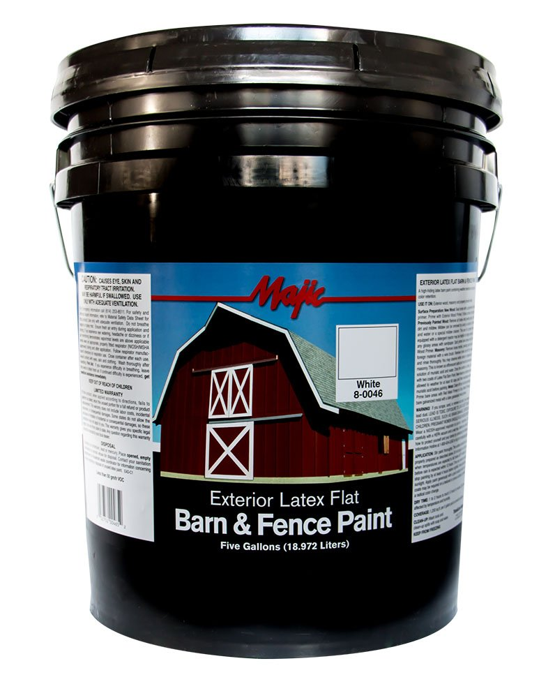 Majic Paints 8-0046-5 Latex Flat Barn & Fence Paint, 5-Gallons, White