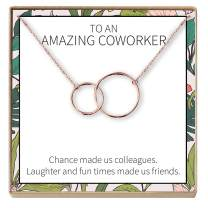 Dear Ava Gift for Coworker, Colleague: Best Present, Necklace, Jewelry, Gift Idea, Thanks, 2 Interlocking Circles