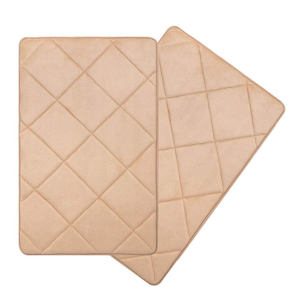 Seavish Thick Memory Foam Bath Mat Set, 2 Piece 19.7'' x 31.5'' Beige Plaid Bath Rug Soft Cozy Flannel, Maximum Absorbent, Easier to Dry, Machine Washable, Non-Slip, Cushioned for Bathroom Floor Mat
