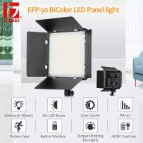 JINBEI EFP-50W Bi-Color LED Video Lighting Panel with CRI97+ 2700K-7500K Continuous Video Light kit for Photography Shooting Panel(Batteries are not Include)