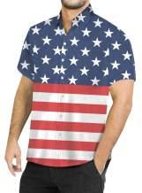 BesserBay Mens 4th of July American Flag Aloha Shirt Patriotic Button Down Hawaiian Shirt