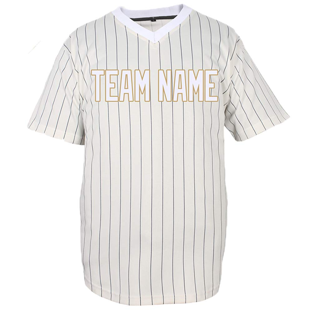 Pullonsy V-Neck Custom Baseball Jersey for Men Pinstriped Mesh Embroidered Team Name & Numbers S-8XL