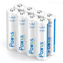 POWXS Rechargeable AA Batteries, 2000mAh Stardard Double AA Size Perfect for Mouse Controller, Pack of 8