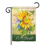 "Breeze Decor G154095 Sunflower with Hummingbird Decorative Vertical Garden Flag, 13"" x 18.5"", Multicolor"