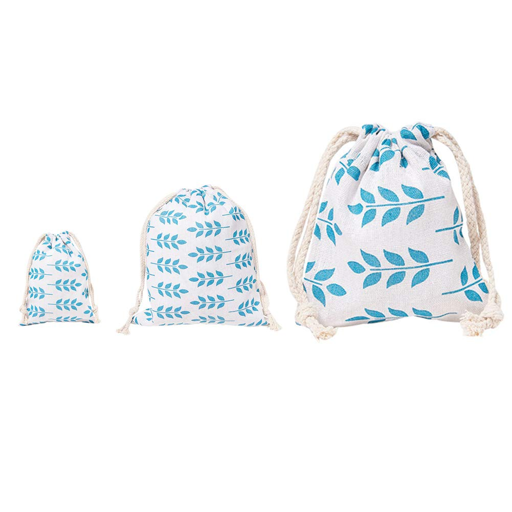 NBEADS 3 PCS Dark Cyan Leaf-Printed Cotton and Linen Packing Pouches with Drawstrings for Wedding Party Birthday Christmas DIY Craft, Mixed Sizes