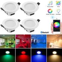 Sumaote 4pcs 5W Bluetooth Smart Led Downlight Kit RGBWC 5 in 1 LED Recessed Ceiling Spotlight AC(100-240) V LED Recessed Lighting