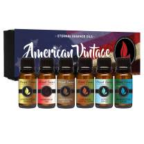 American Vintage - Gift Set of 6 Premium Fragrance Oils - Sandalwood Vanilla, Frankincense & Rain, Cardamom Cedar Blossom, Aspen Grass, Warm Rustic Woods, Barbershop 1920 - Eternal Essence Oils