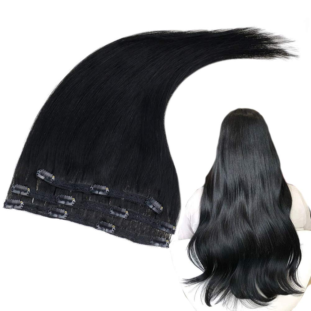 RUNATURE Clip Extensions Human Hair 10 Inches Color 1 Jet Black 50g (3 Pieces) Real Human Hair Extensions for Women Easy to Apply