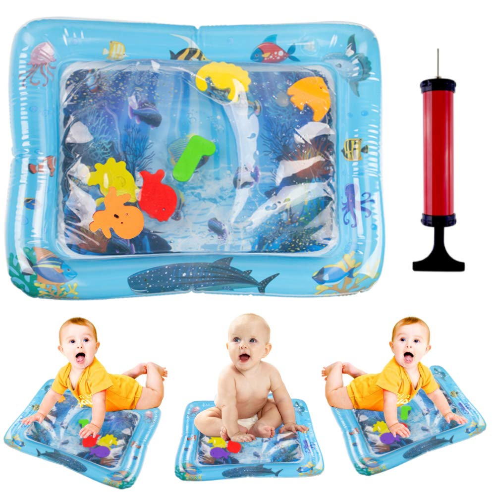 3 otters Inflatable Water Play Mat,20X24Inches Tummy Time Water Mat Baby Toys for 3-18 Months Newborn Boy Girl with Inflator, BPA-Free