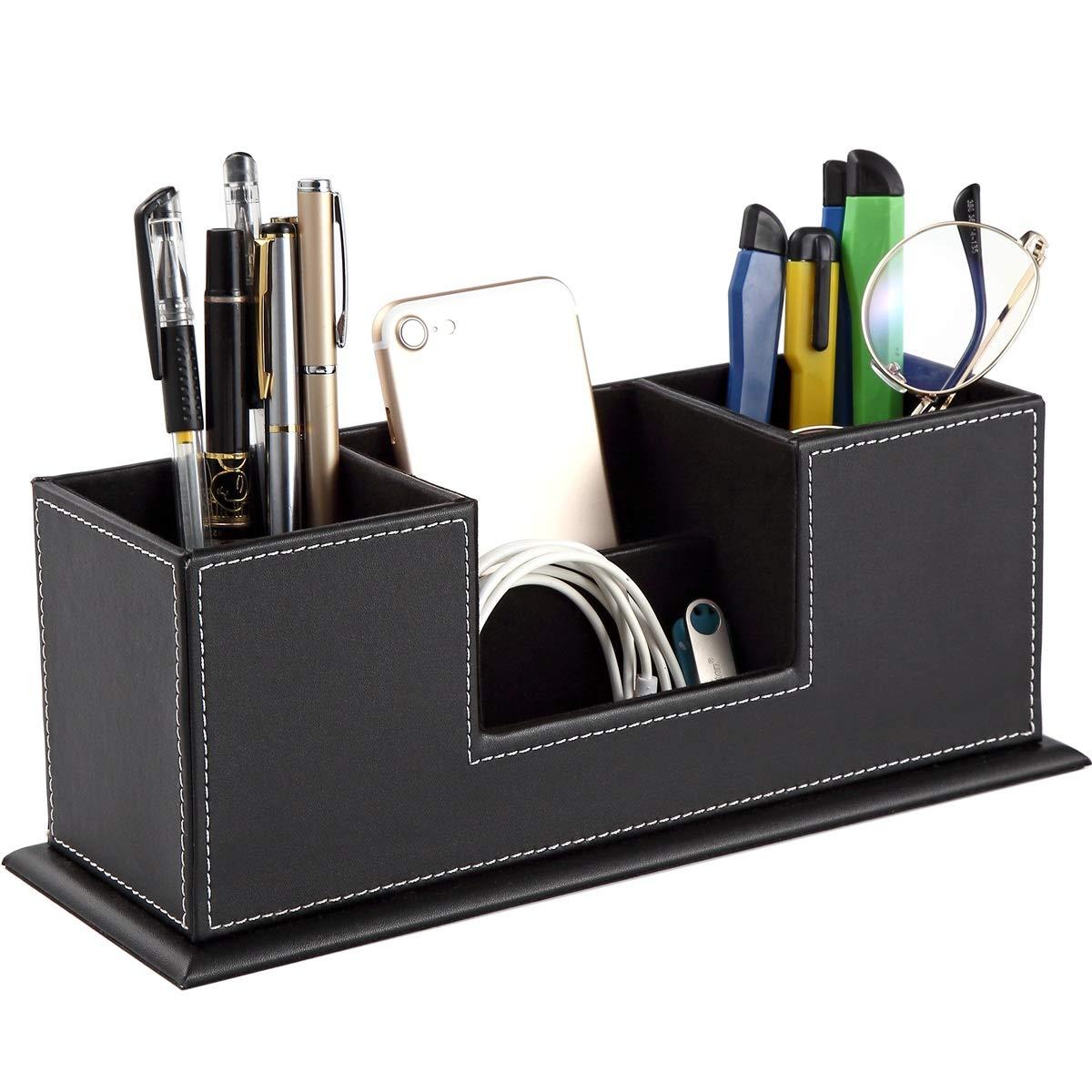 URbantin Organizer Office Desk Pen holder for Desk Tidy + 4 Spacious Compartments, Remote Control Holder Organizer Caddy, PU Leather Media Desktop Organizer (Pen Holder Clipboard for Free) (Black)