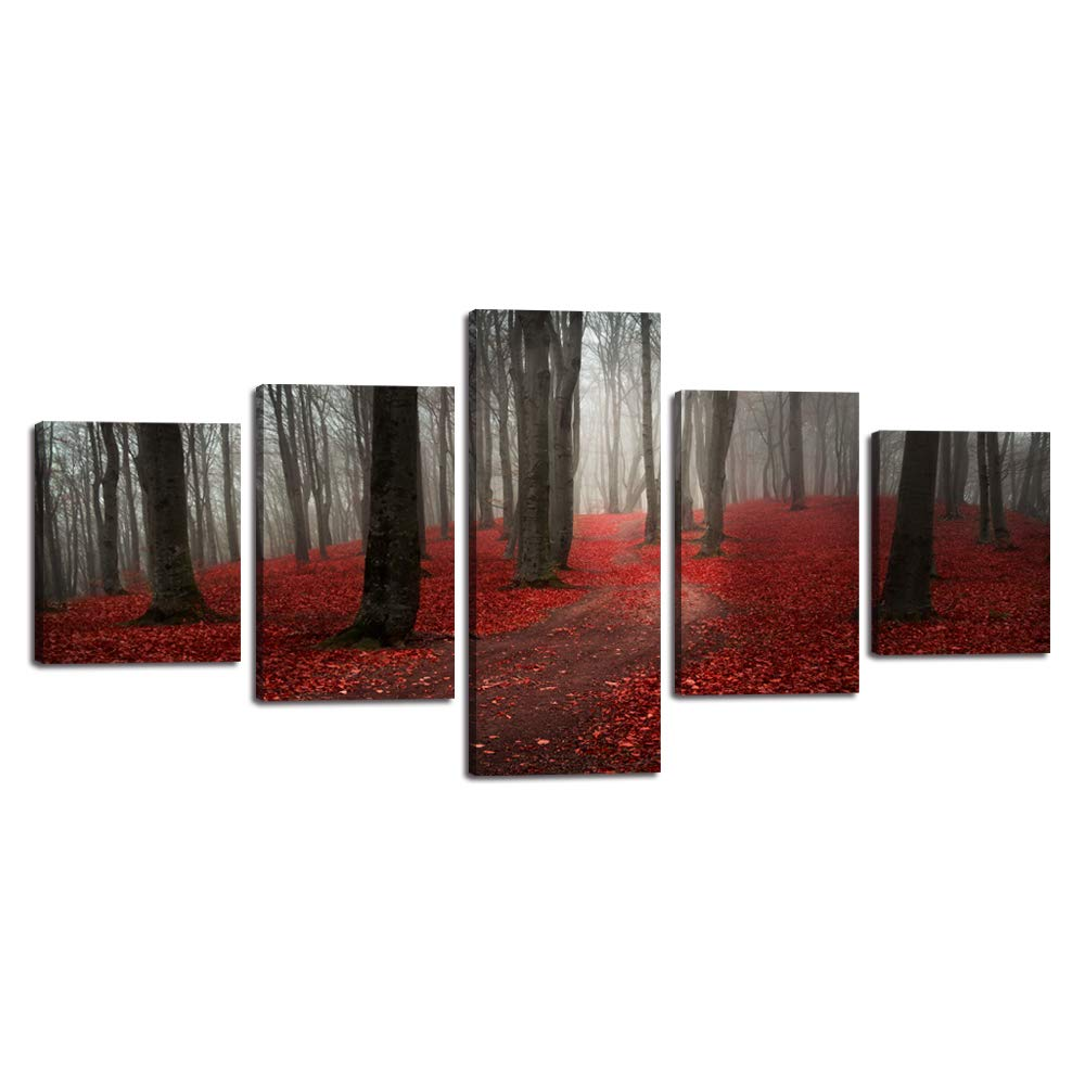 Yatsen Bridge 5 PCS Autumn Fall Landscape Canvas Painting Nature Season Wall Art Pictures Red Leaves Forest Posters Prints Wooden Artwork for Living Room Framed Stretched Ready to Hang (50''Wx24''H)