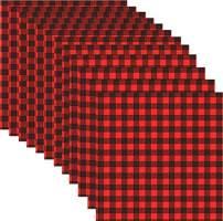 12 Sheets Buffalo Plaid - 12 x 12 Inch Heat Transfer Vinyl Red & Black/White & Black Plaid Fabric Printed Vinyl Sheets Adhesive Iron on Vinyl for Clothes