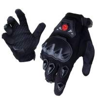 SCOYCO Men's Trendy Breathable Racing Motorcycle Gloves,Collision Avoidance Reinforced Knuckle Extreme Sports Glove(BLACK,L)