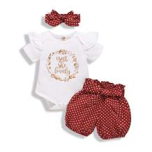 Baby Girl Outfits Strap Ruffle Top +Sunflower Short Pants+Floral Headband 3PCS Baby Summer Clothing Set