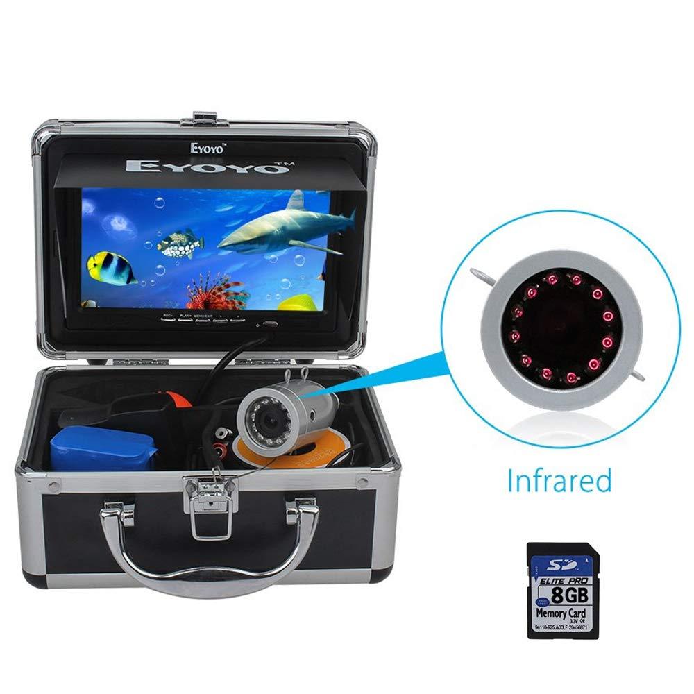 Eyoyo Fishing Camera Video Fish Finder 7 inch LCD Monitor 1000TVL Camera 12pcs IR LED DVR+8GB with 30m Cable for Ice Lake Boat Fishing
