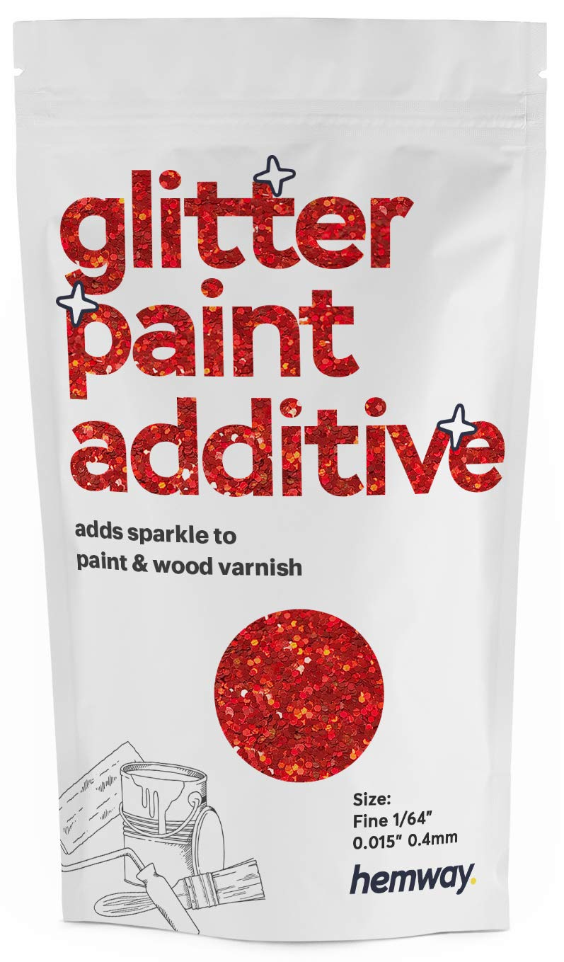 """Hemway Glitter Paint Additive FINE 1/64"""" 0.4mm Emulsion/Acrylic Water Based Paints Wall Ceiling 100g / 3.5oz (Red Holographic)"""