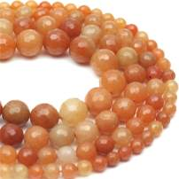 """Oameusa 8mm Red-Orange Aventurine Jade Beads Faceted Round Beads Gemstone Beads Loose Beads Agate Beads for Jewelry Making 15"""" 1 Strand per Bag-Wholesale"""
