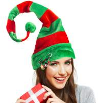 Christmas Elf Hat, Novelty Funny Christmas Hat Dress Up Accessory Long Striped Felt Hat with Cute Brooch Pin for Kids Adults Holiday Theme Photos Props Christmas Party Favors