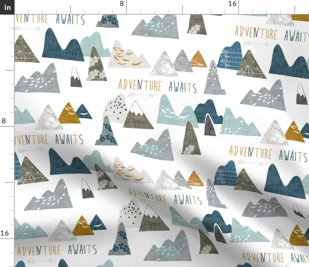 Spoonflower Fabric - Mountain, Adventure, White, Explore, Outdoors, Camping, Baby Boy, Printed on Petal Signature Cotton Fabric by The Yard - Sewing Quilting Apparel Crafts Decor