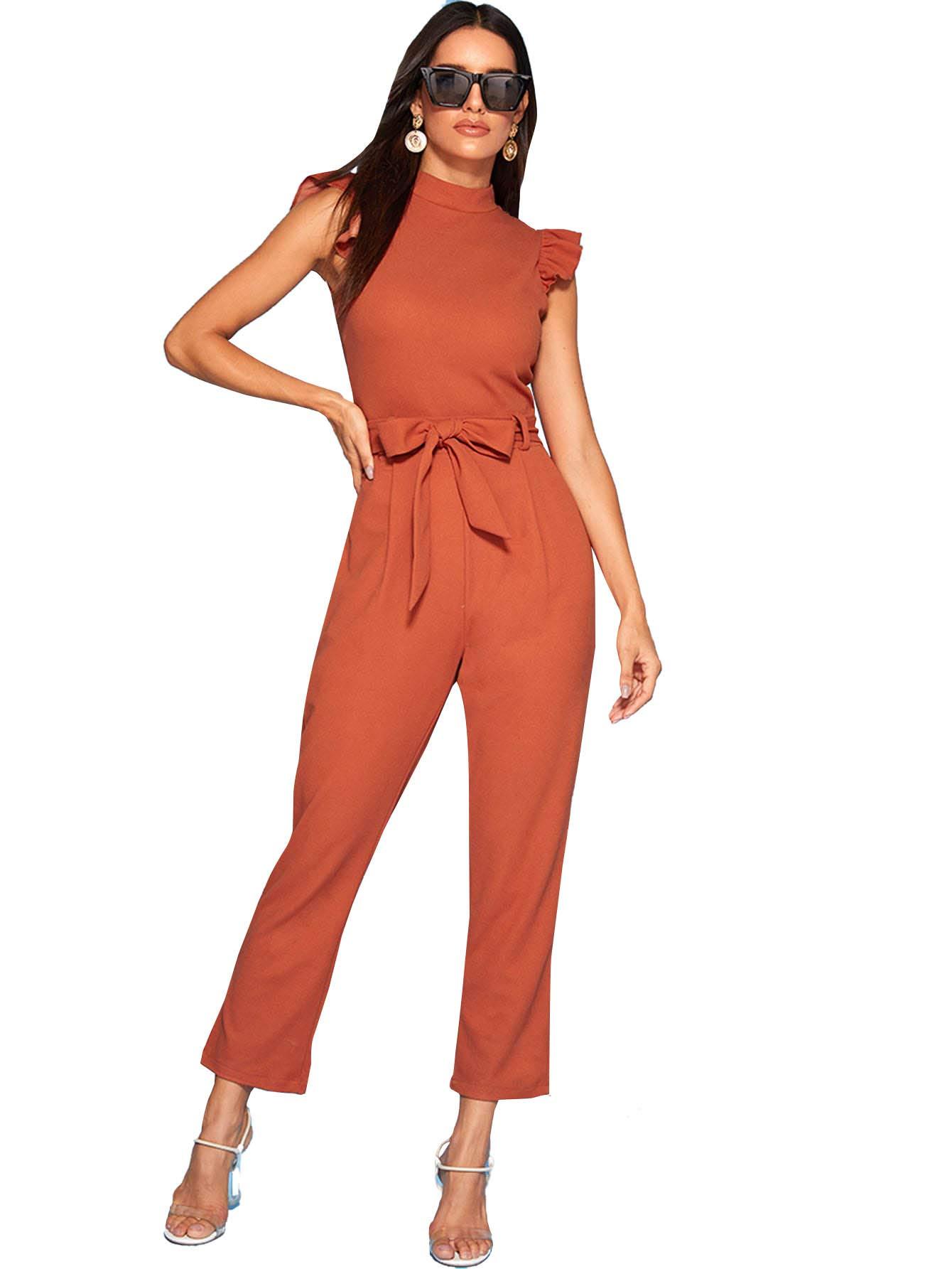 WDIRARA Women's Elegant Zip Back Short Sleeve Lace Bodice Wide Leg Jumpsuit