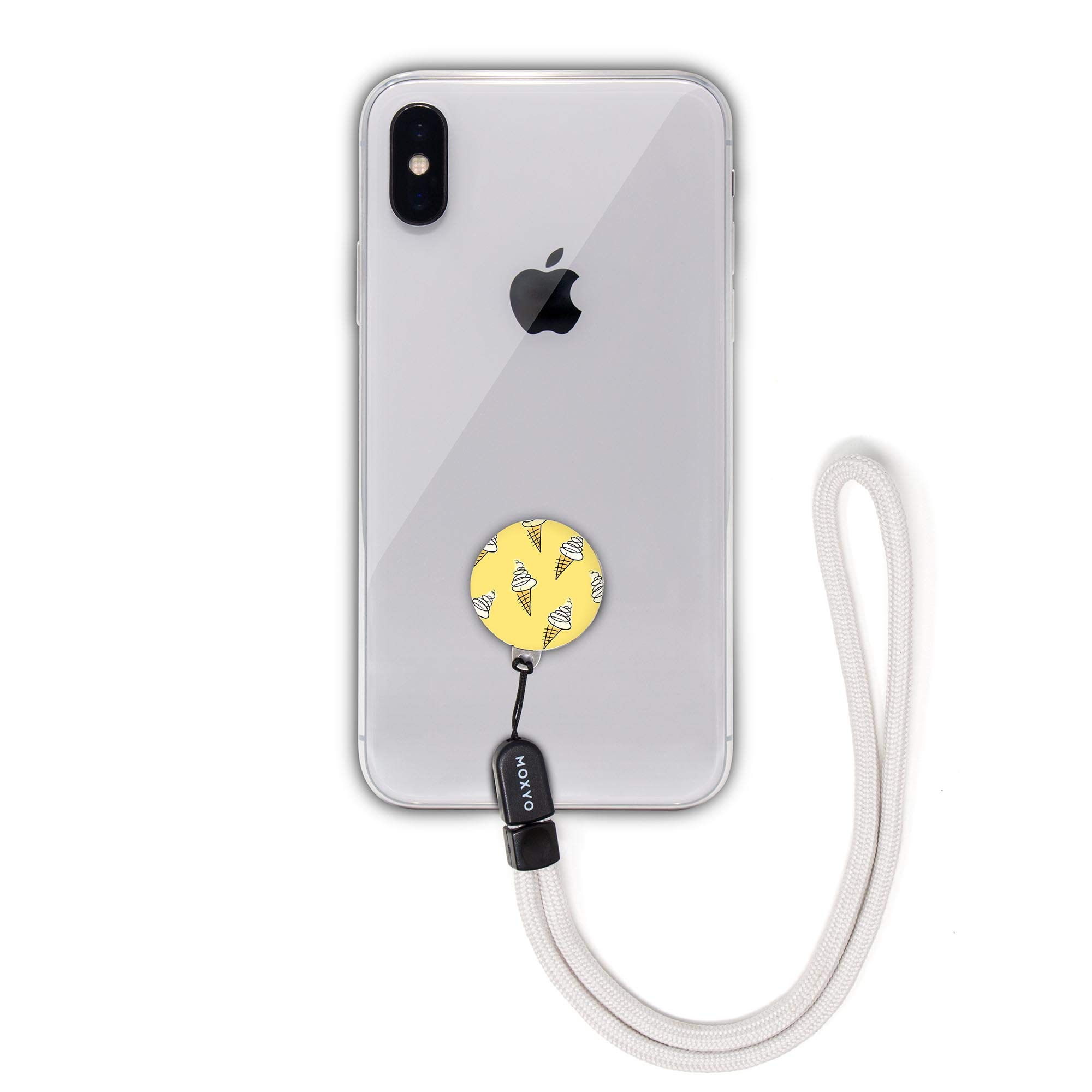 MOXYO - Zigi Band - Universal Cell Phone Lanyard and Wrist Strap, Works with All Smartphones and Tablets Including iPhone and Galaxy & Most Cases (Yellow Ice Cream w/Grey Lanyard)
