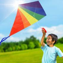 Easy to Fly Diamond Rainbow Kite for Toddlers, Kids, and Adults, 47 Inch Outdoor Toy for Girl and Boy, Beginner Kite Kit with Nylon Fabric, Fiberglass Rod, Line, and Spool, Fun for Beach and Backyard