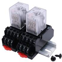 mxuteuk 2pcs HH54P DC 6V Coil 14 Pin 3A 4PDT LED Indicator Electromagnetic Power Relay, with Base, with DIN Rail Slotted Aluminum