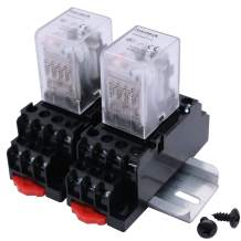 mxuteuk 2pcs HH54P DC 24V Coil 14 Pin 3A 4PDT LED Indicator Electromagnetic Power Relay, with Base, with DIN Rail Slotted Aluminum