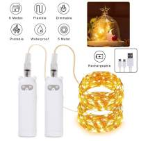 Innoo Tech String Lights Rechargeable 2 Pack LED String Lights, 32.8Ft 100 LEDs Battery Operated Fairy Lights, Upgraded USB Charge String Lights, 8 Modes Changing String Lights for Bedroom Party Xmas