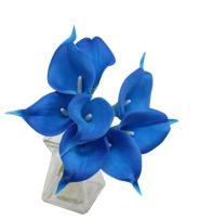 Angel Isabella 10pc Set Real Touch Calla Lily-Keepsake Artificial Flower Perfect for Cut to Make Boutonniere Corsage Bouquets(Royal Blue)