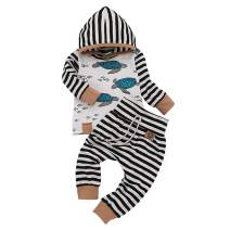 Newborn Infant Baby Girls Boys Hoodie Set Feather Striped Jacket Pants Set Kids Fall Clothes