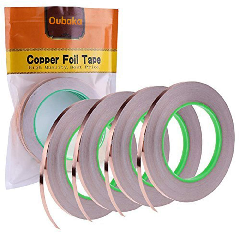 4 Pack Copper Foil Tape with Conductive Adhesive for EMI Shielding, Slug Repellent, Paper Circuits, Electrical Repairs, Grounding(1/4inch)