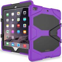 iPad 6th/5th Generation Case,iPad 9.7 Inch Case 2018/2017,Model(A1893/A1954/A1822/A1823),with Free Screen Protector,Heavy Duty Shockproof Hybrid Rugged Rubber Stand Case,Purple