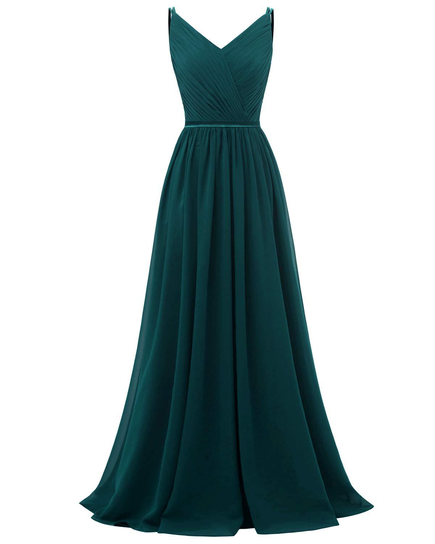 Molisa Women's V Neck Bridesmaid Dresses Long A Line Pleated Chiffon Prom Dress Evening Dress Formal