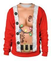Fashspo Unisex 3D Print Fashion Long Sleeve Christmas Crewneck Pullover Sweatshirt T-Shirts Top Casual Couple Tees