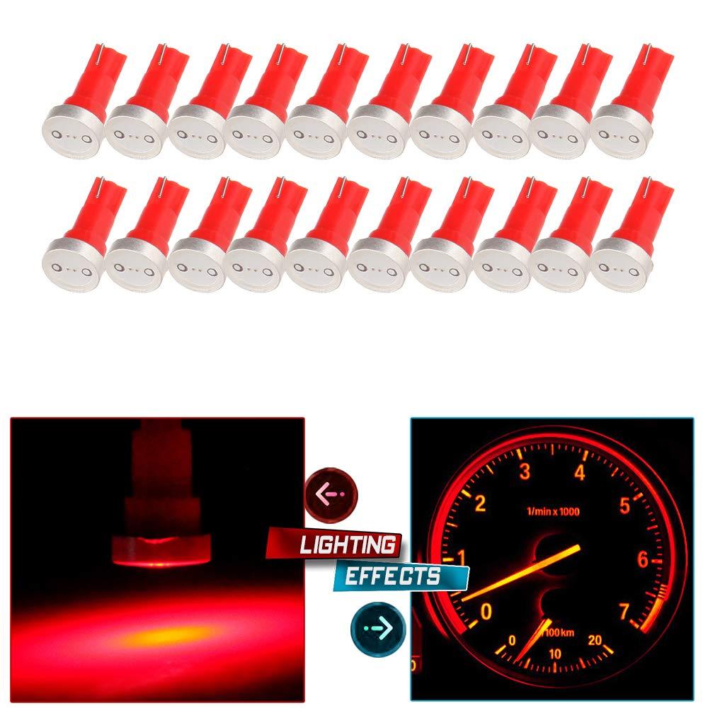 cciyu 20x High Power T5 73 74 Wedge Instrument Cluster Speedometer LED Light Bulbs Red