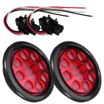 """NEW SUN 2PC 4"""" Round LED Trailer Stop Turn Tail Lights 12 Diodes Red LED Sealed Waterproof Lens"""