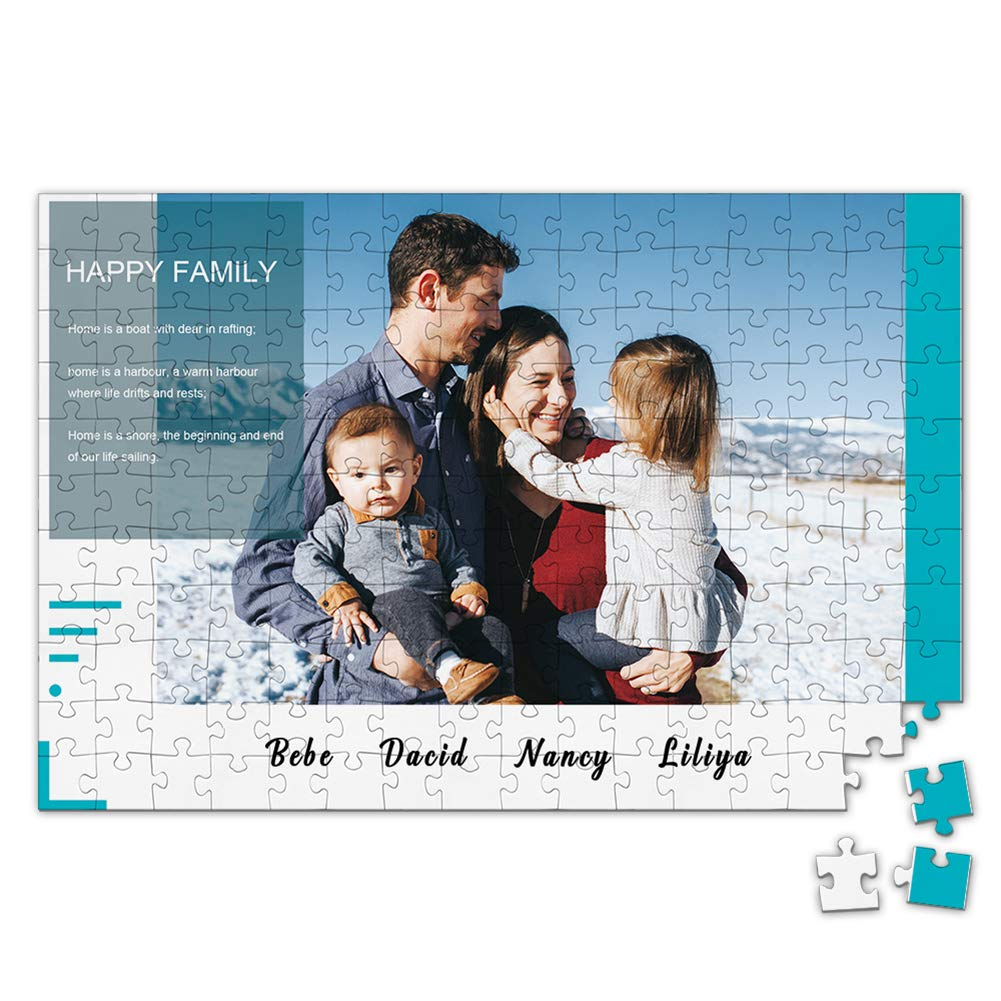 Custom Photo Jigsaw Puzzle for Adults 300 Pieces - Happy Family Personalized Photo Engraved Funny Gifts Custom Puzzles from Photos for Kids Mother's Day Wedding Gift Family Friend