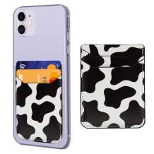 Cow Print Phone Credit Card Holder 3M Adhesive Stick on Wallet Case Mate Pocket for Cell Phone