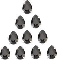 Choupee Black Teardrop Sew on Rhinestone 48pcs Drop Sew on Claw Rhinestone 13x18 mm